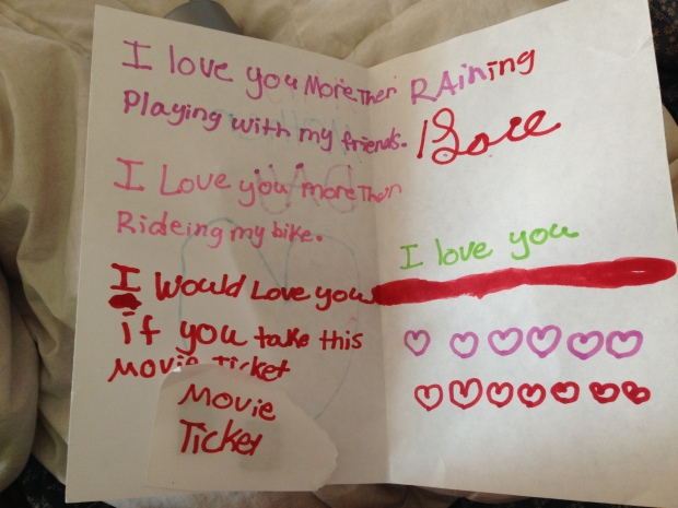 "Ireland's card. The ""raining"" part is supposed to go with the ""love"". She asks me, ""Do you like the raining Love part, mommy?"" Yes, sweet one, very much."