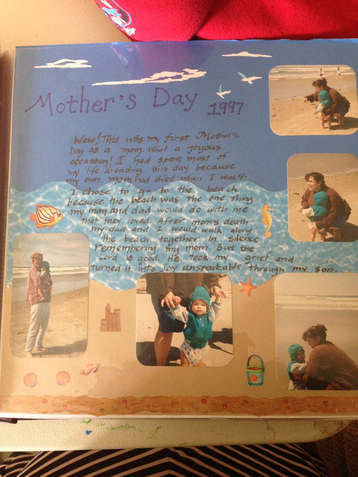 A page from my scrapbook. This boy wasn't thrilled with the sand, but he got over it.
